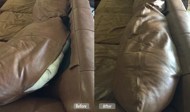 Split seam leather couch repair