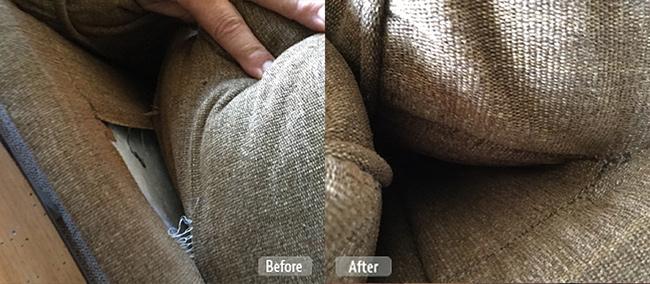 Torn seam furniture repair