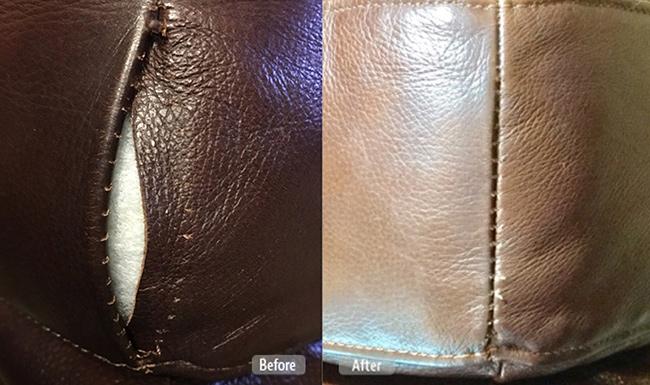 Leather furniture split seam fix