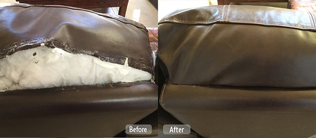 Ripped seam repair on leather couch