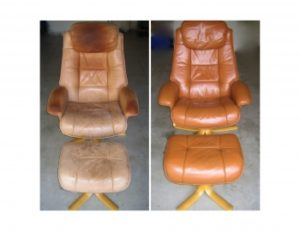 Chair, damaged by oil saturation, refurbished professionally