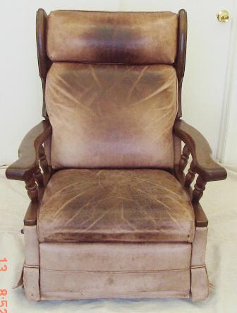 Leather chair damaged by oil