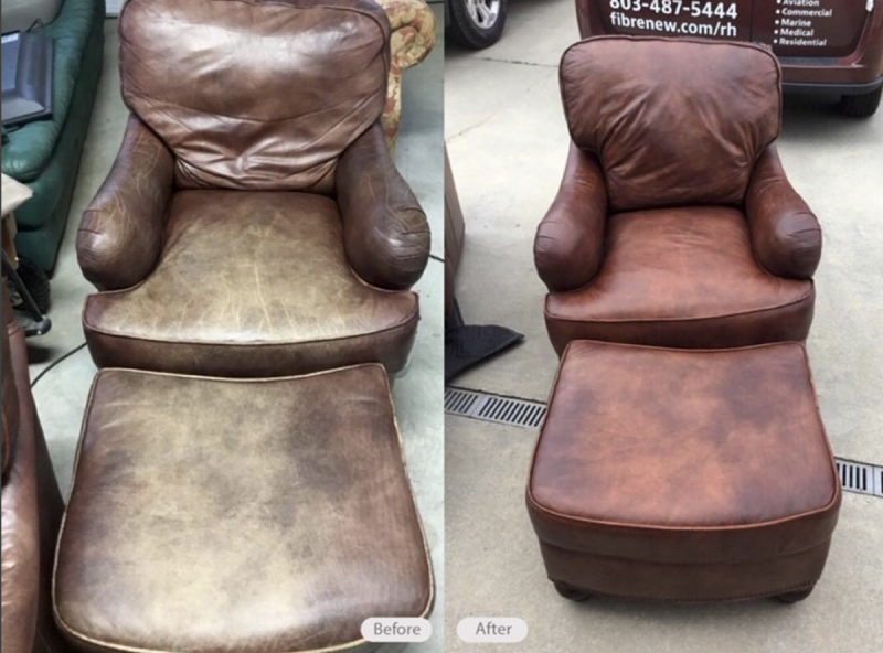 Leather Chair and Footrest Re-dye and restoration