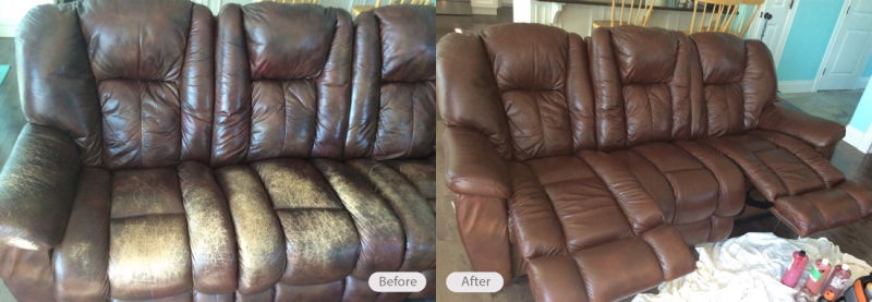 Photo: Leather sofa restoration - Fibrenew Halifax
