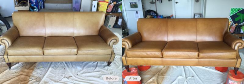 Sun Bleached Aniline Leather Sofa Restored