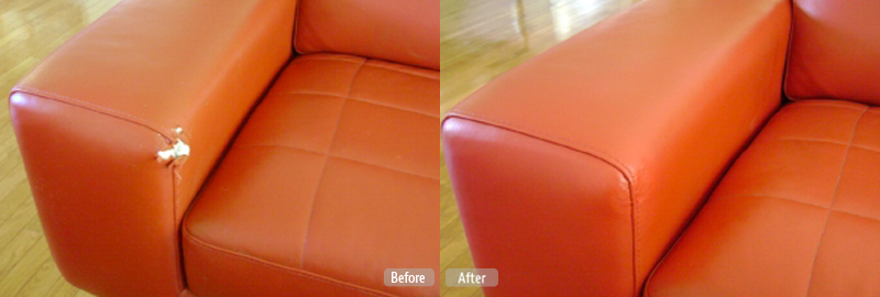 Red Leather Couch Armrest