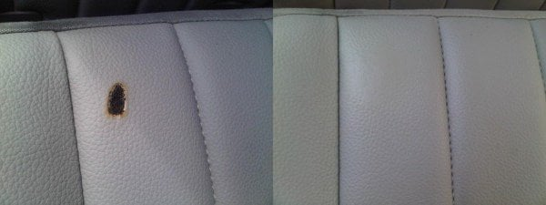 Auto leather back seat cigarette burn repair