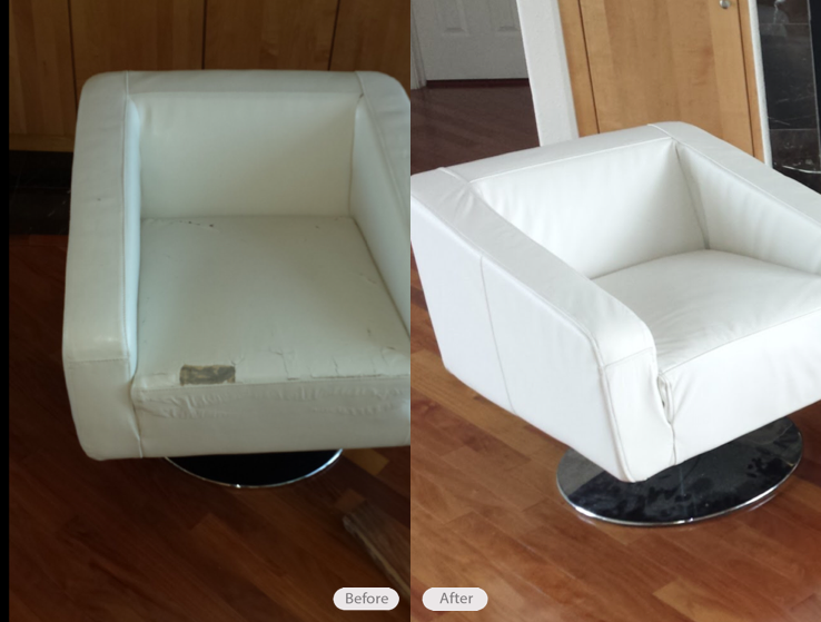 Leather chair reupholstered & Photo: Leather chair reupholstered - Fibrenew Port Richey