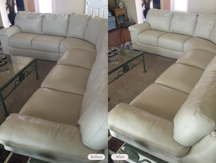 Photo: Ivory leather sectional sofa cleaned and conditioned in ...