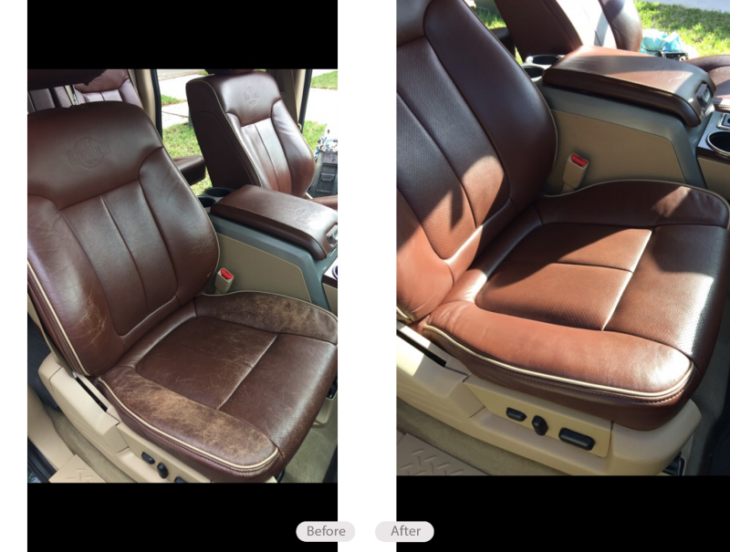 King Ranch Ford >> Photo: Ford F-150 King Ranch leather seats re dyed and restored in Lithia Florida - Fibrenew Tampa