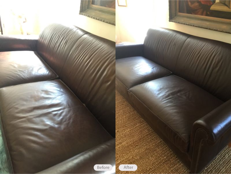 Photo: Brown Restoration Hardware leather sofa re dyed due to cat ...