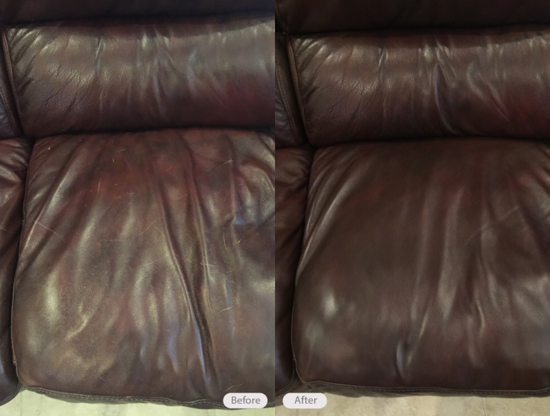 Cat Scratch Repair And Re Dye On Brown Leather Sofa In Brandon Florida