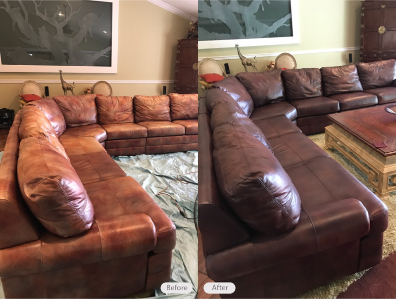 Etonnant Analine Leather Sectional Sofa Re Dyed In Odessa Florida