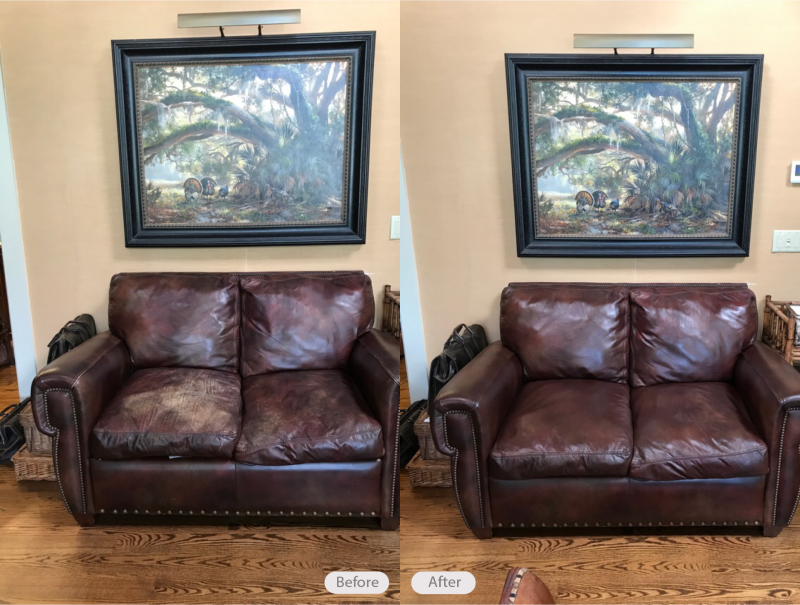 Leather Sofa Re Dye And Restoration In Lakeland Florida