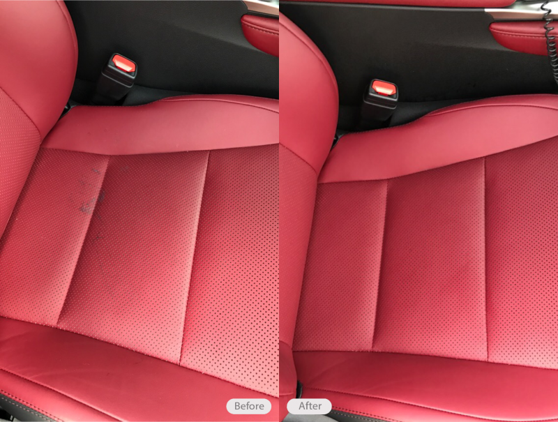Embedded Gum Removal On Red Leather Seat Of Lexus GS 350 In Tampa Florida