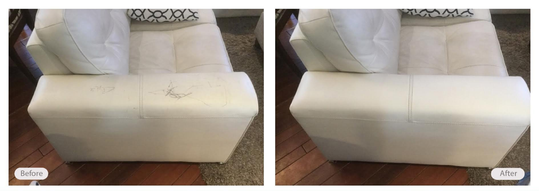Pen marks on leather sofa removed and looking great again