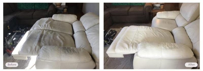 Leather couch cleaning and conditioning by Fibrenew
