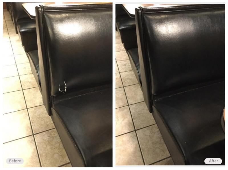 Restaurant booth seating repaired
