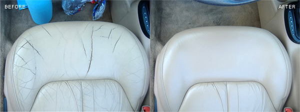 Cracked leather repair on a car seat