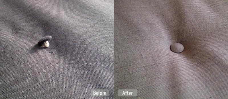Button repair on furniture