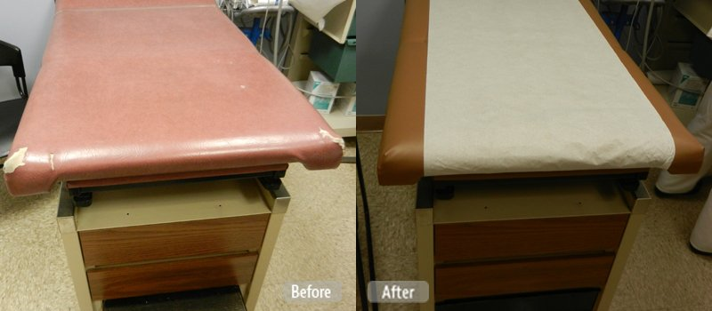 Photo Damaged Medical Examination Table Restoration Fibrenew Regina
