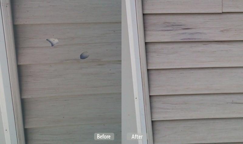 photo damaged vinyl siding repair fibrenew nanaimo upper island