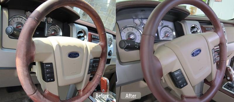 Leather steering wheel repair