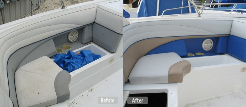 Photo Pontoon Boat Seat Repair Fibrenew Before After