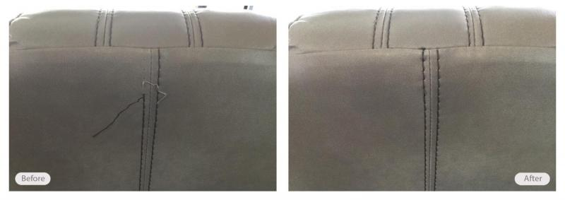 Seam repair completed in customer's home