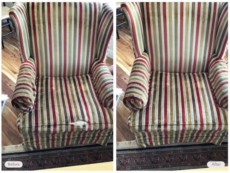 Chair seam rip repaired