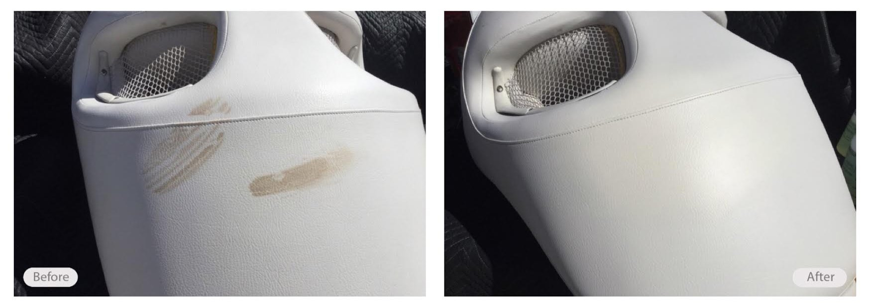 Scuffs on this vinyl boat seat removed