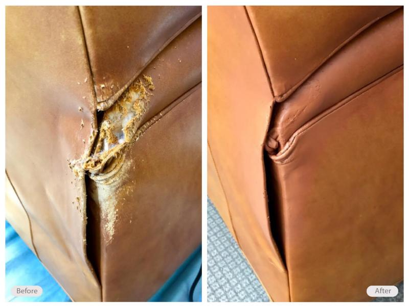 Dog bite damage on this leather chair restored