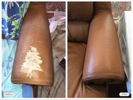 Leather chair armrest restored in customer's home
