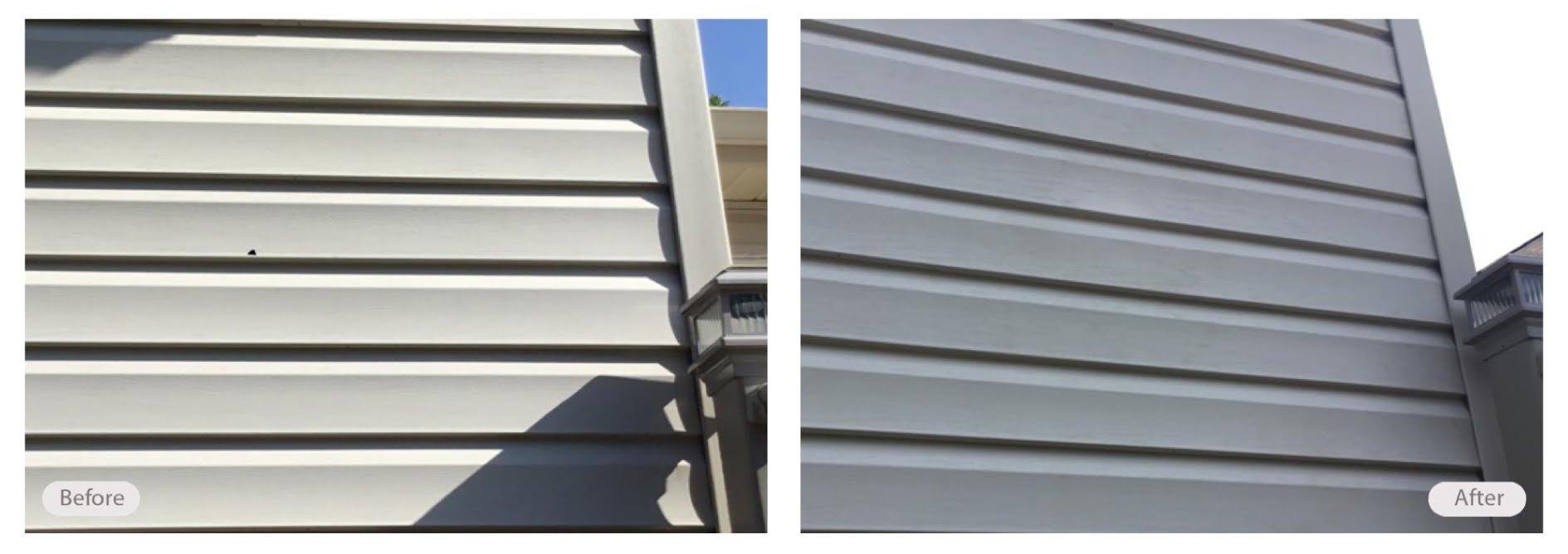 Vinyl siding damage repair and re-dye