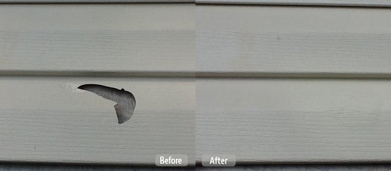 Photo hail storm damage vinyl siding repair fibrenew for Hail damage vinyl siding